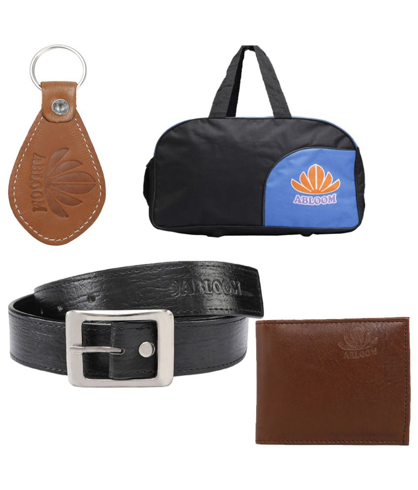 Abloom Black PU Belts Wallets Set Belts