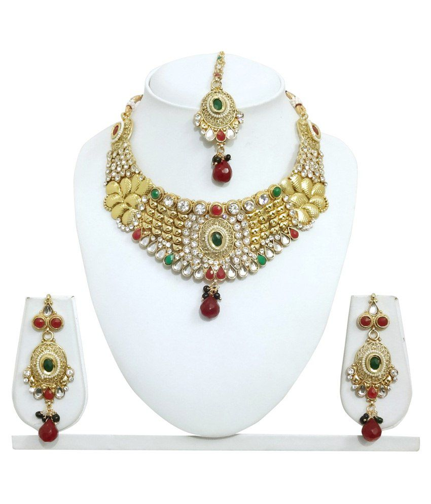 Arts Chetan Golden & Red Alloy Necklace Set With Maang Tika