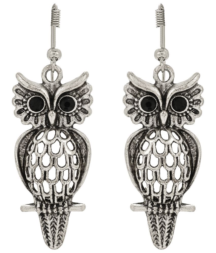 KFT Silver And Black Alloy Contemporary Hanging Earrings