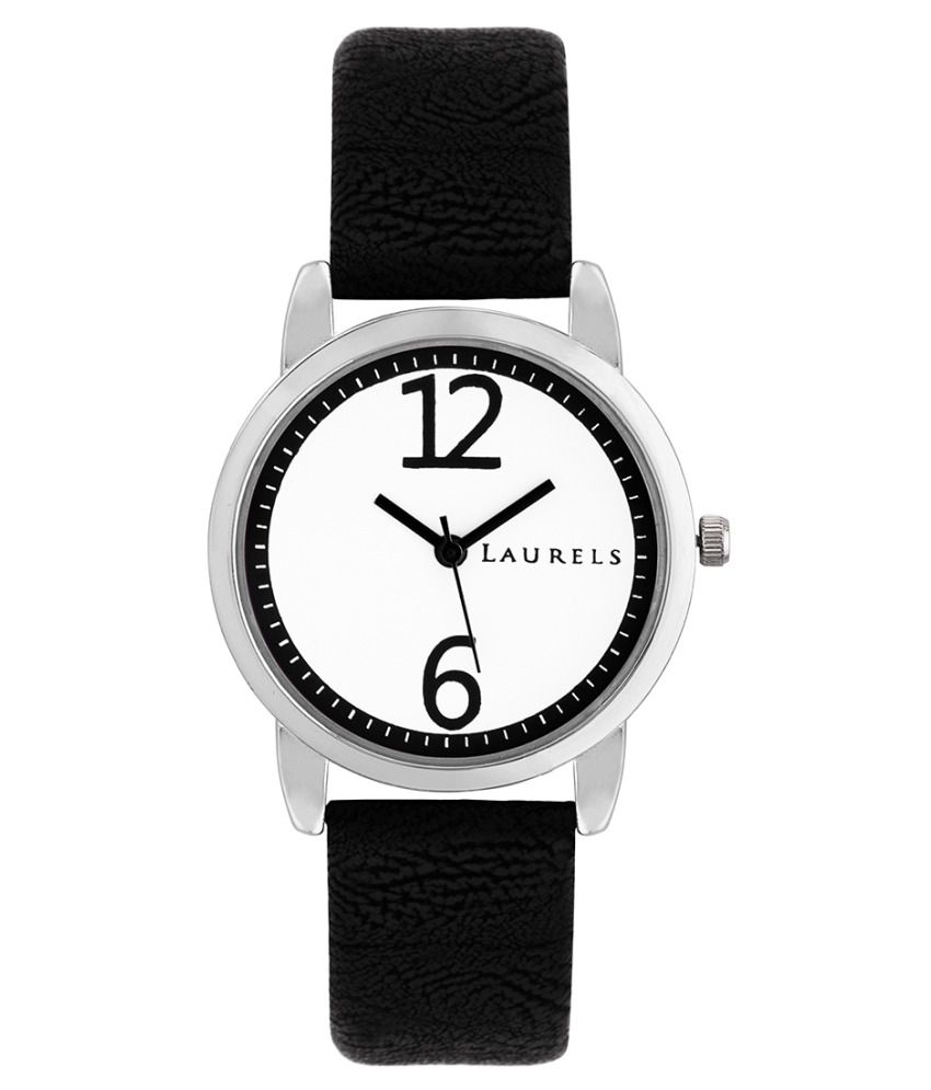 Laurels Black Leather Analog Watch