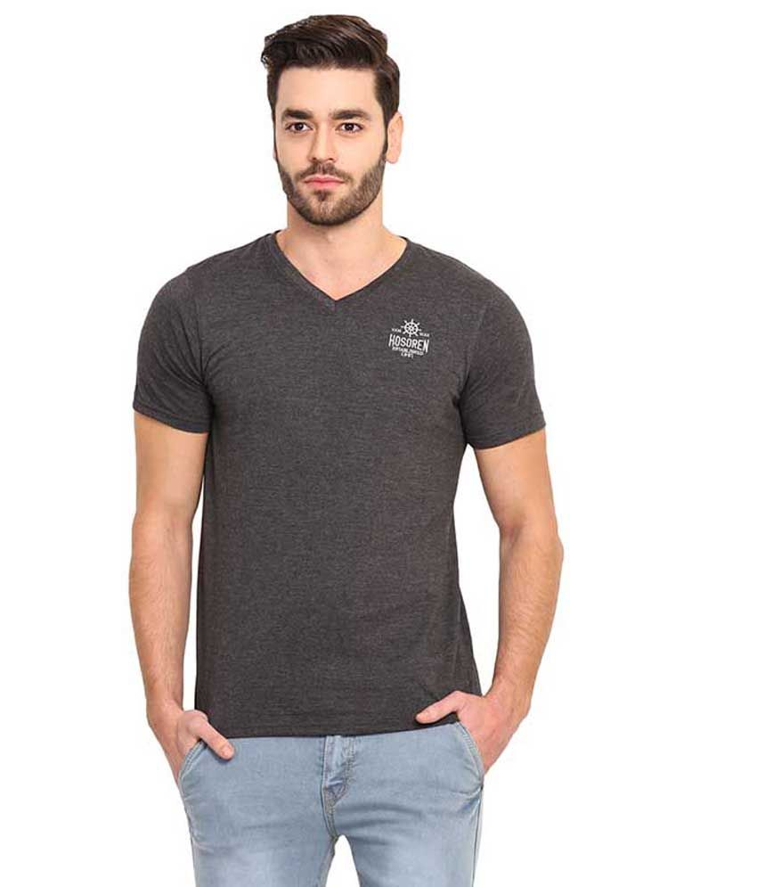 Mode Vetements Grey V-Neck T Shirts