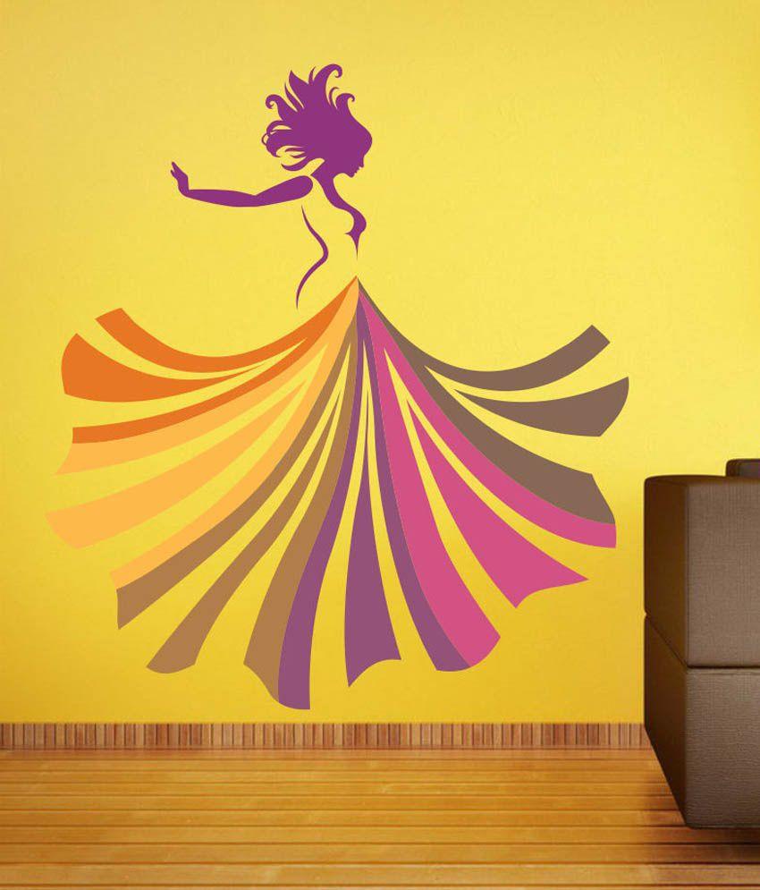 Impression Wall Beautiful Girl Art Printed Vinyl Wall Sticker - Buy ...