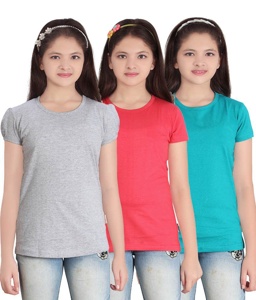 Sini Mini GIRLS SOLID ROUND NECK TSHIRT(PACK OF3)