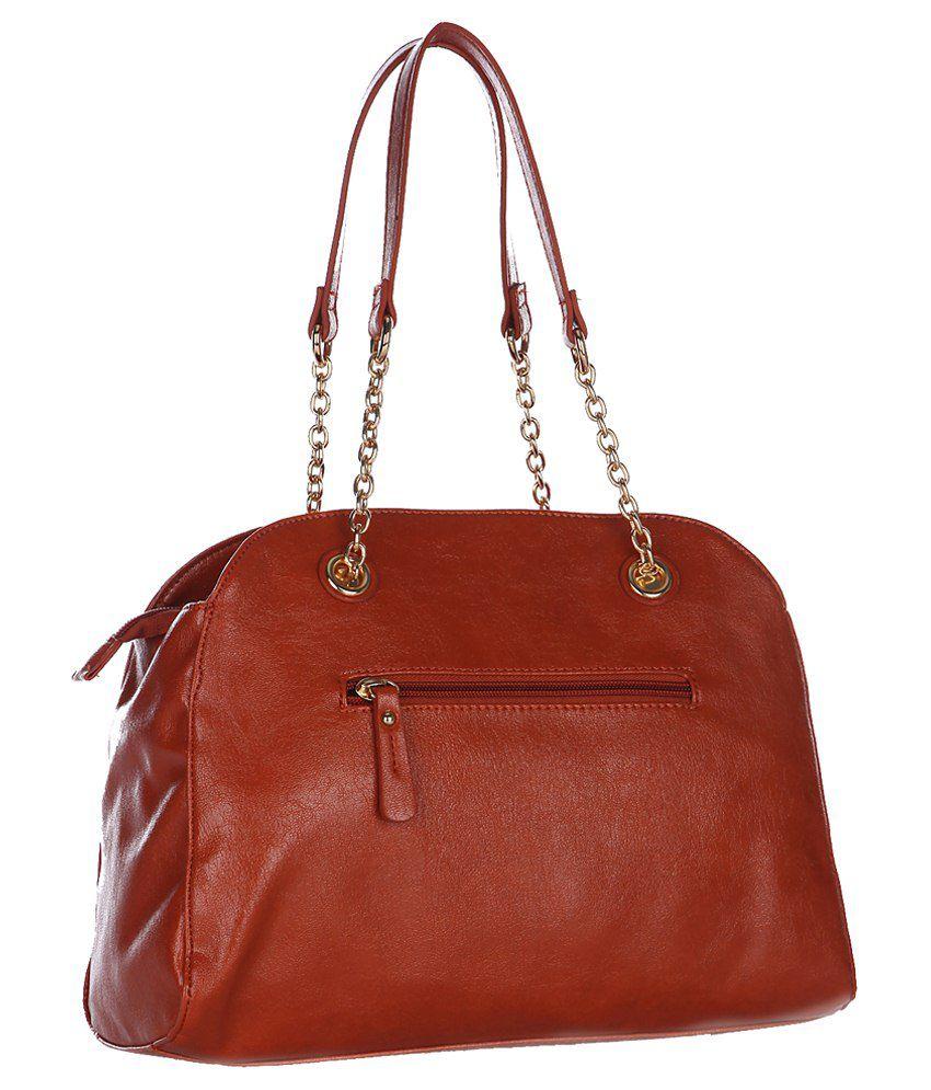 79dff04843 Caprese Monica Satchel Rust P.U. Shoulder Bag - Buy Caprese Monica ...