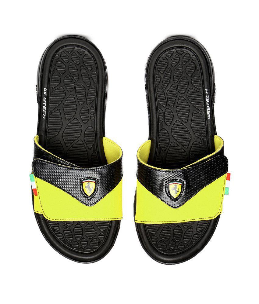 c543c58b6a0 PUMA Black   Yellow Slippin Ferrari Flip-Flops Price in India- Buy ...