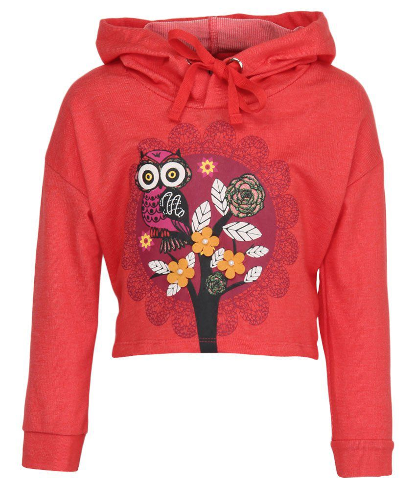 Stop by Shoppers Stop Red & Pink Graphic Cotton Hooded Sweatshirt