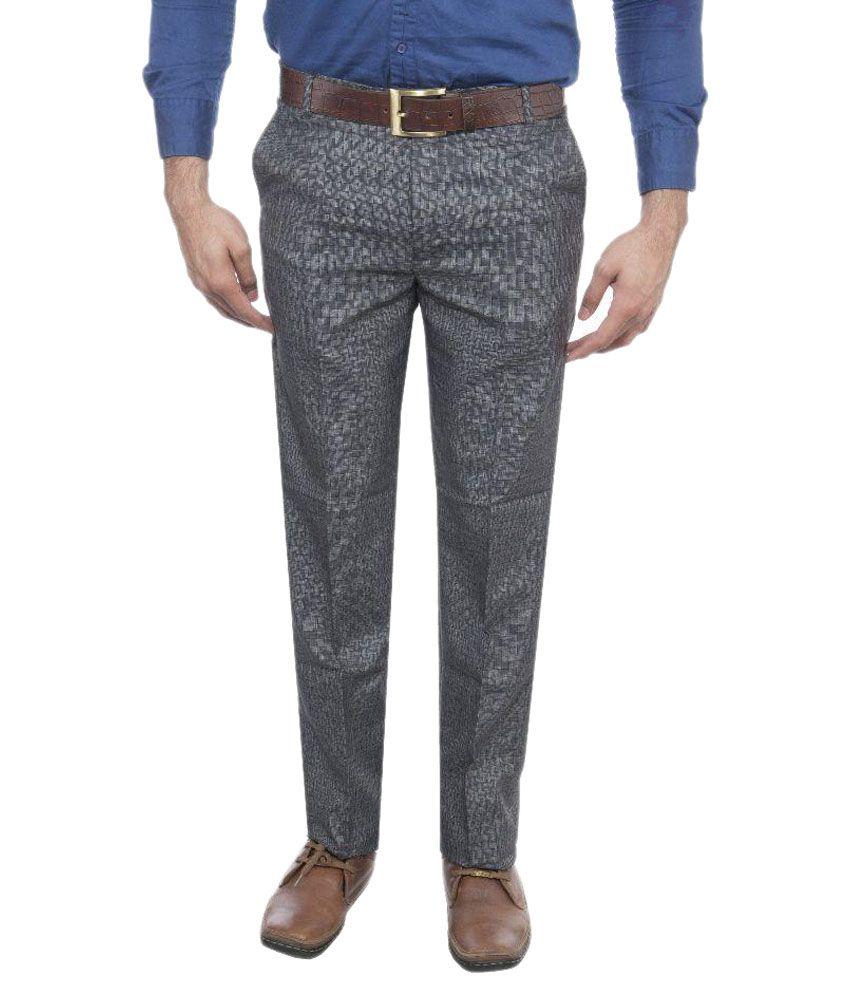 Le Meiux Grey Slim Fit Flat Trousers