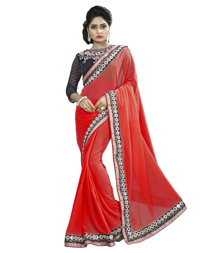 Mithila Creation Red Georgette Saree