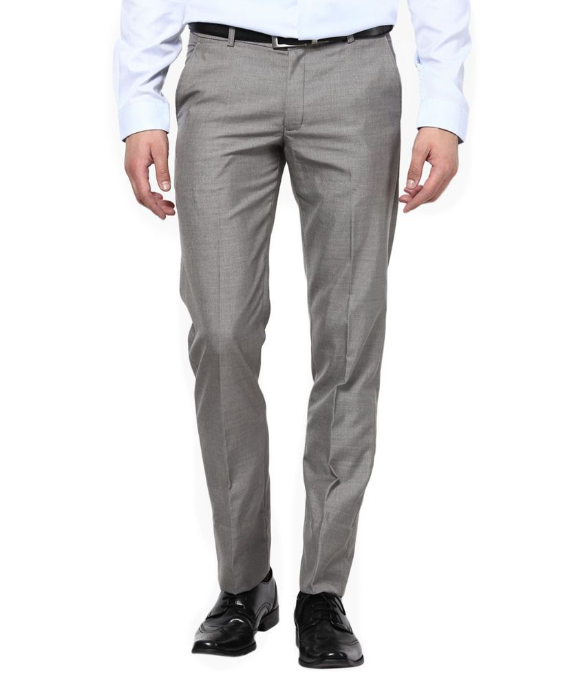 Surfer Grey Slim Fit Flat Trousers