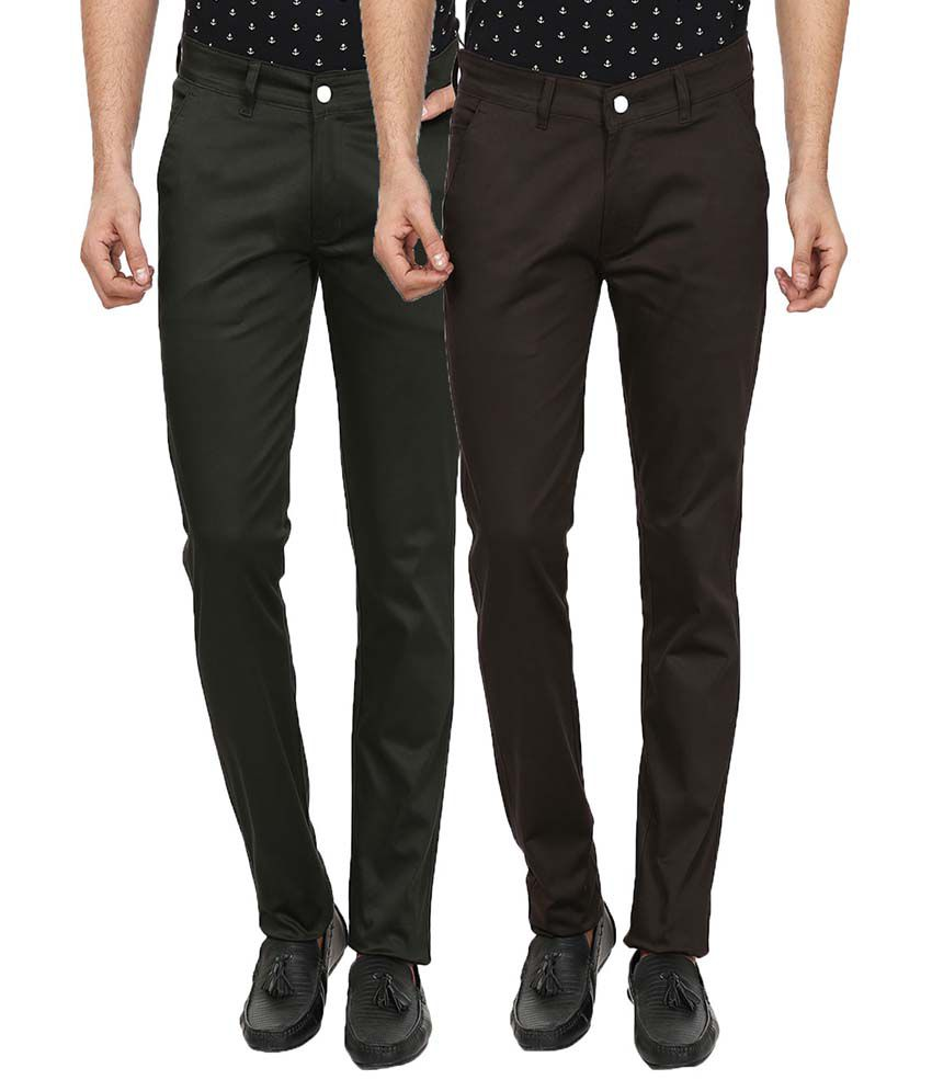 Forever19 Multi Slim Fit Flat Trousers Pack Of 2