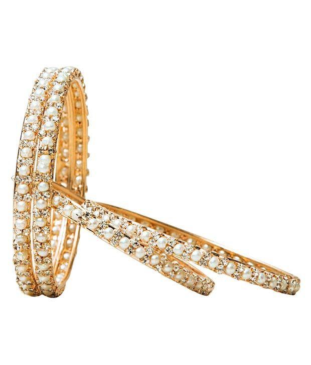 Payal Fashion Golden Pearls 4 Pcs Bangle Set - Pack Of 13