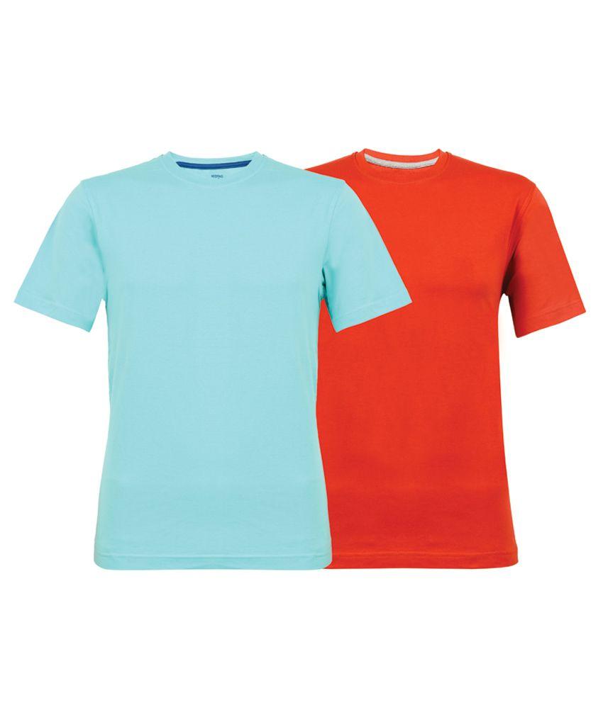 Clifton Fitness Tag Men's - Orange-Light Blue Round Neck T-Shirts (Combo of 2 t-shirts)