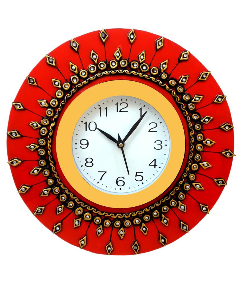 Divinecrafts Red Wooden Wall Clock