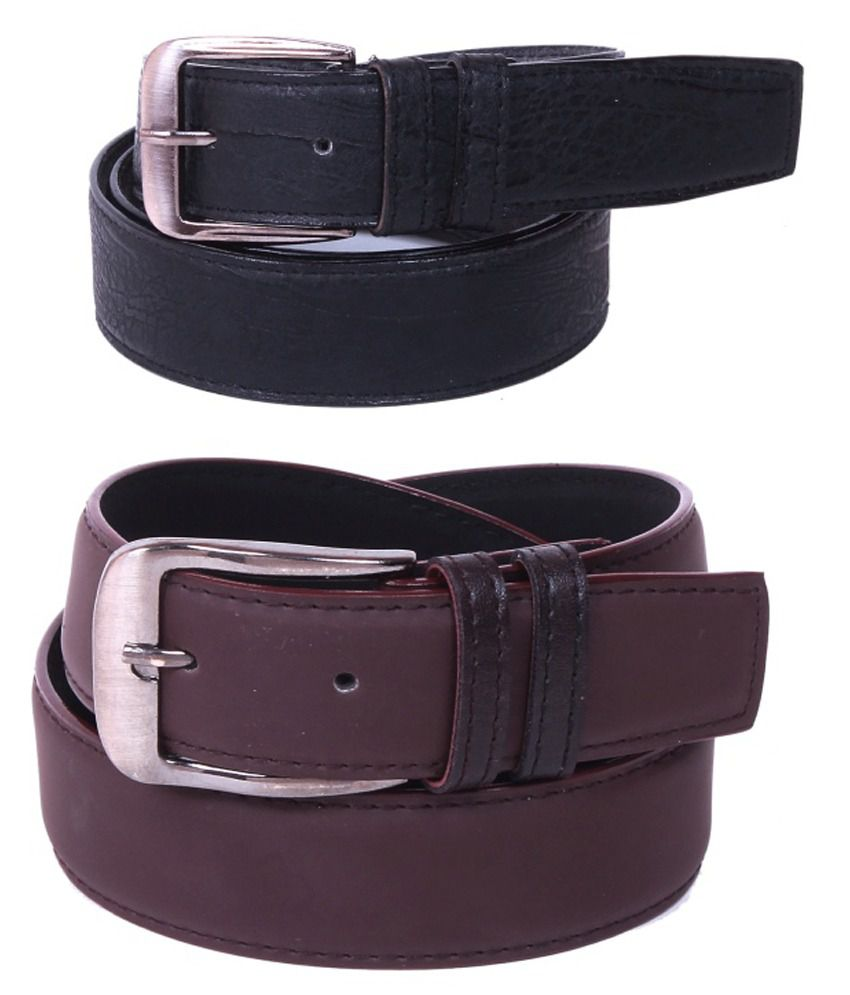 Doller Dx Brown and Black Belt for Men - Pack of 2