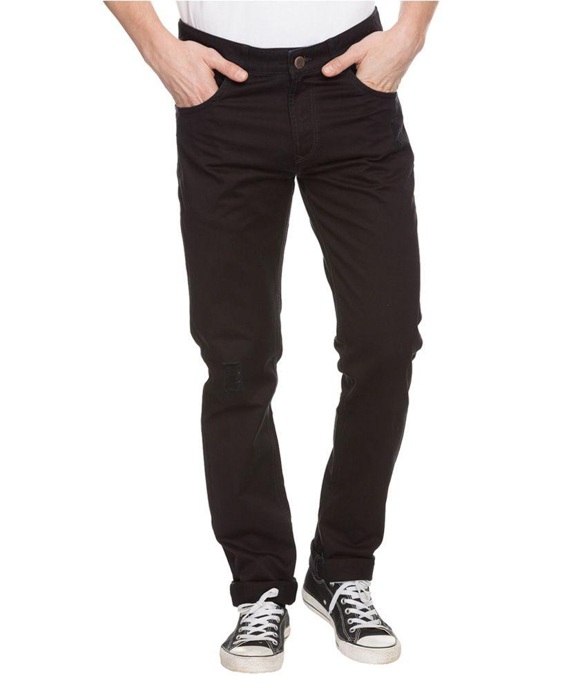 Spykar Black Rico Slim Fit Casual Trousers