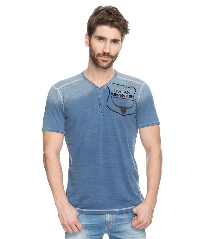 Spykar Navy Printed Henley T-Shirt