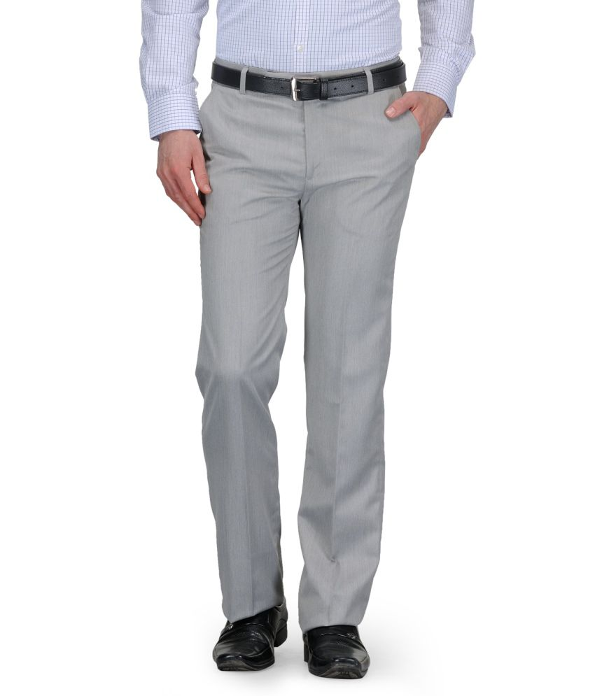 Canary London Grey Regular Fit Flat Trousers