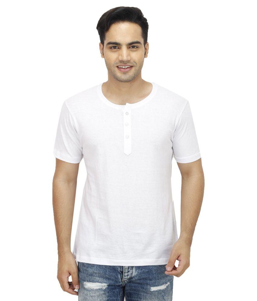Christy World White Henley T Shirts
