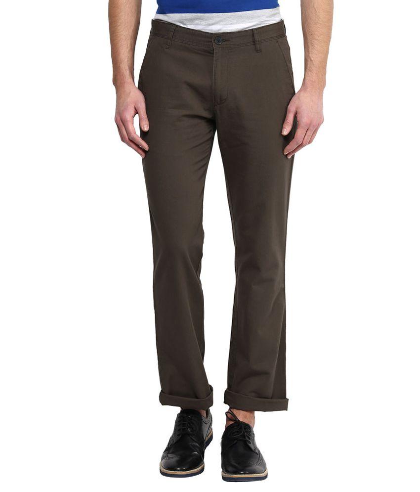 Byford By Pantaloons Green Regular Flat Trouser