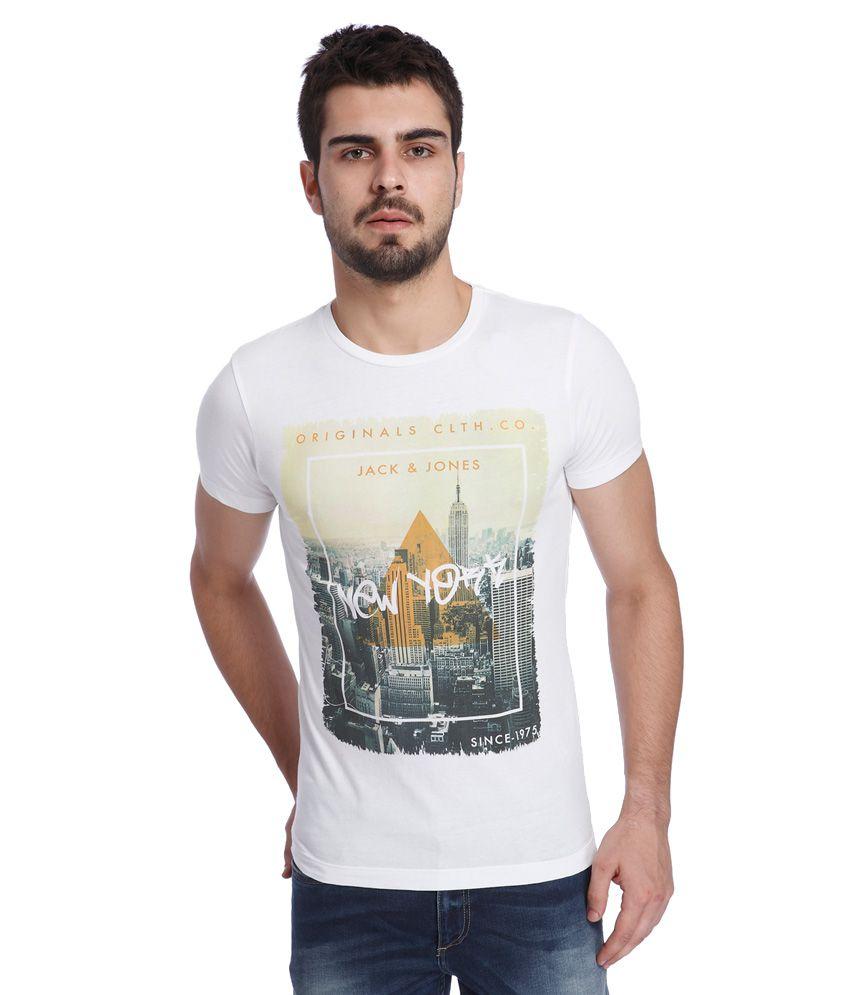 Jack & Jones White Printed T-Shirt