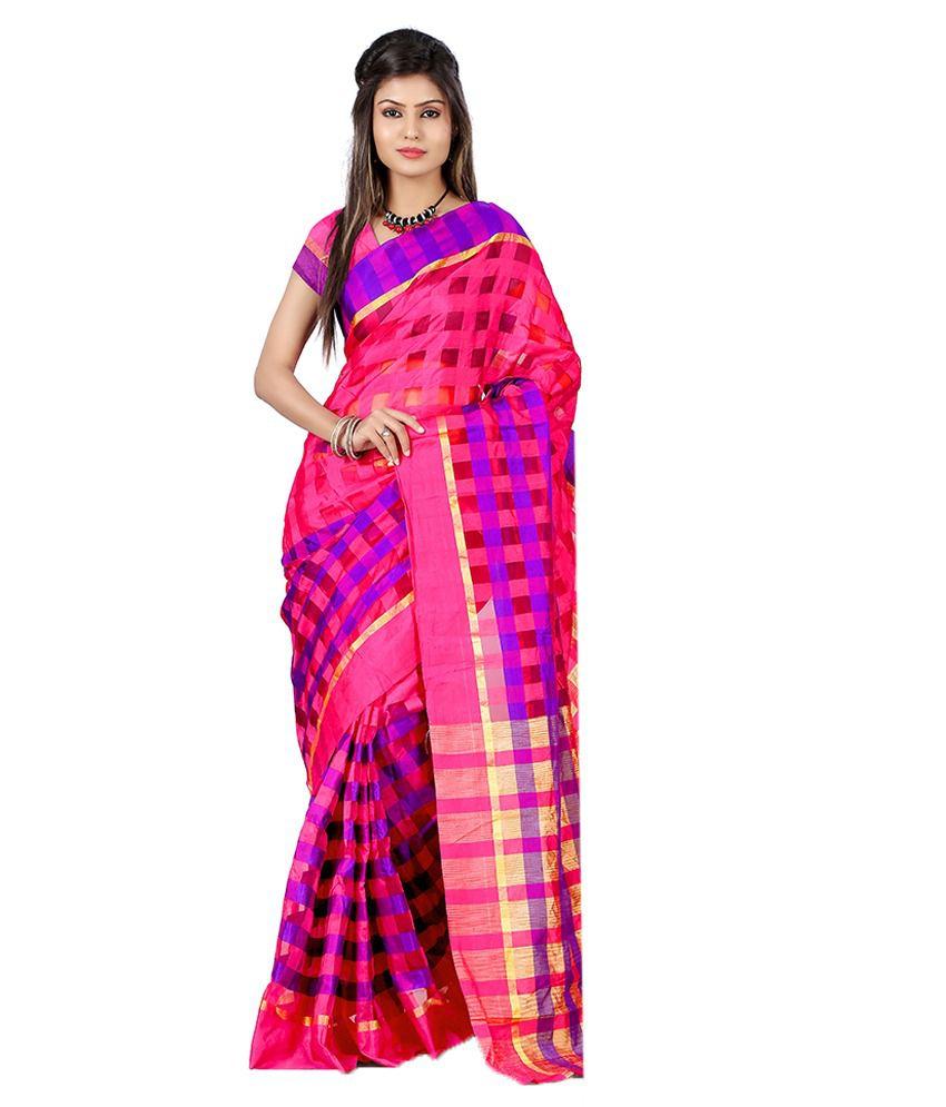 Weavedeal Pink Cotton Silk Saree