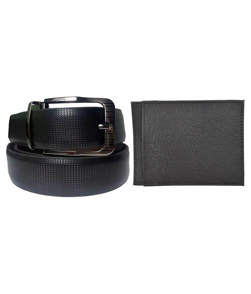 Cavition Black Reversible Belt With Wallet For Men