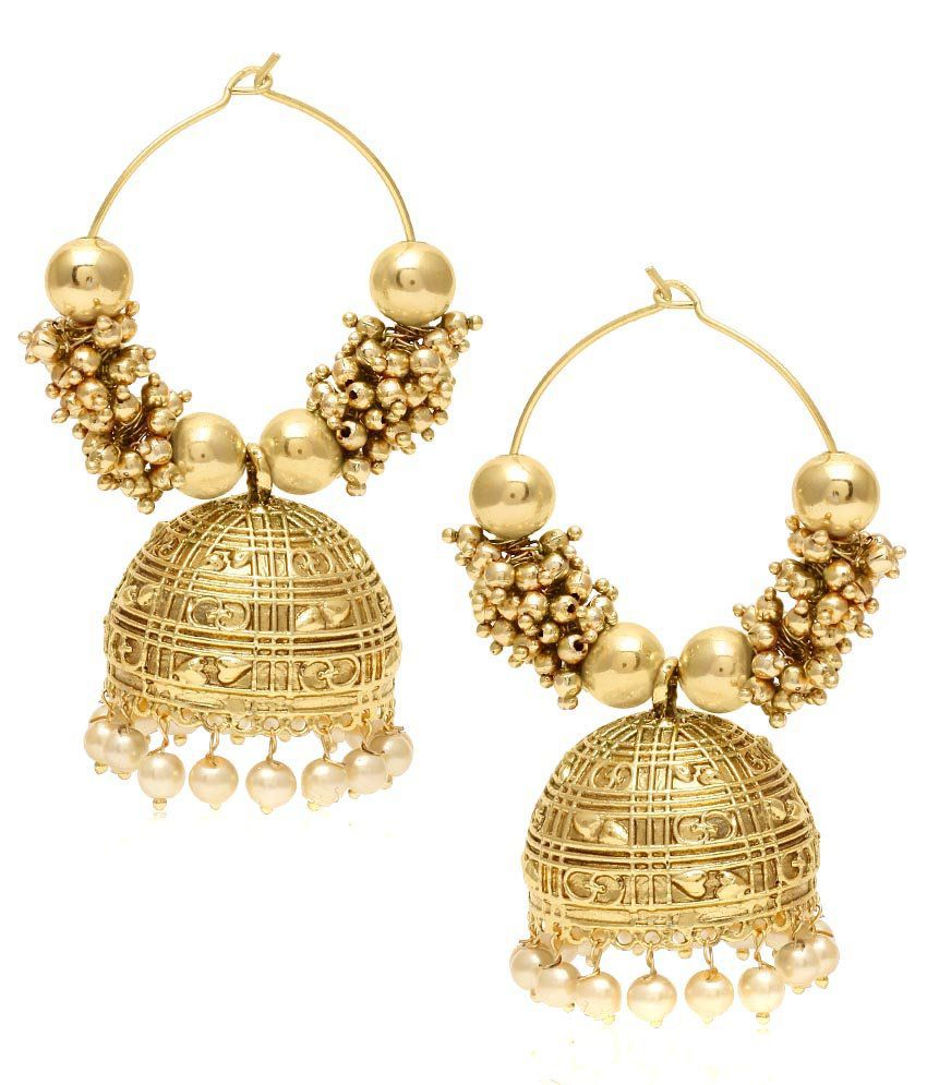 Jewels Galaxy Golden Pearl Studded Jhumkis