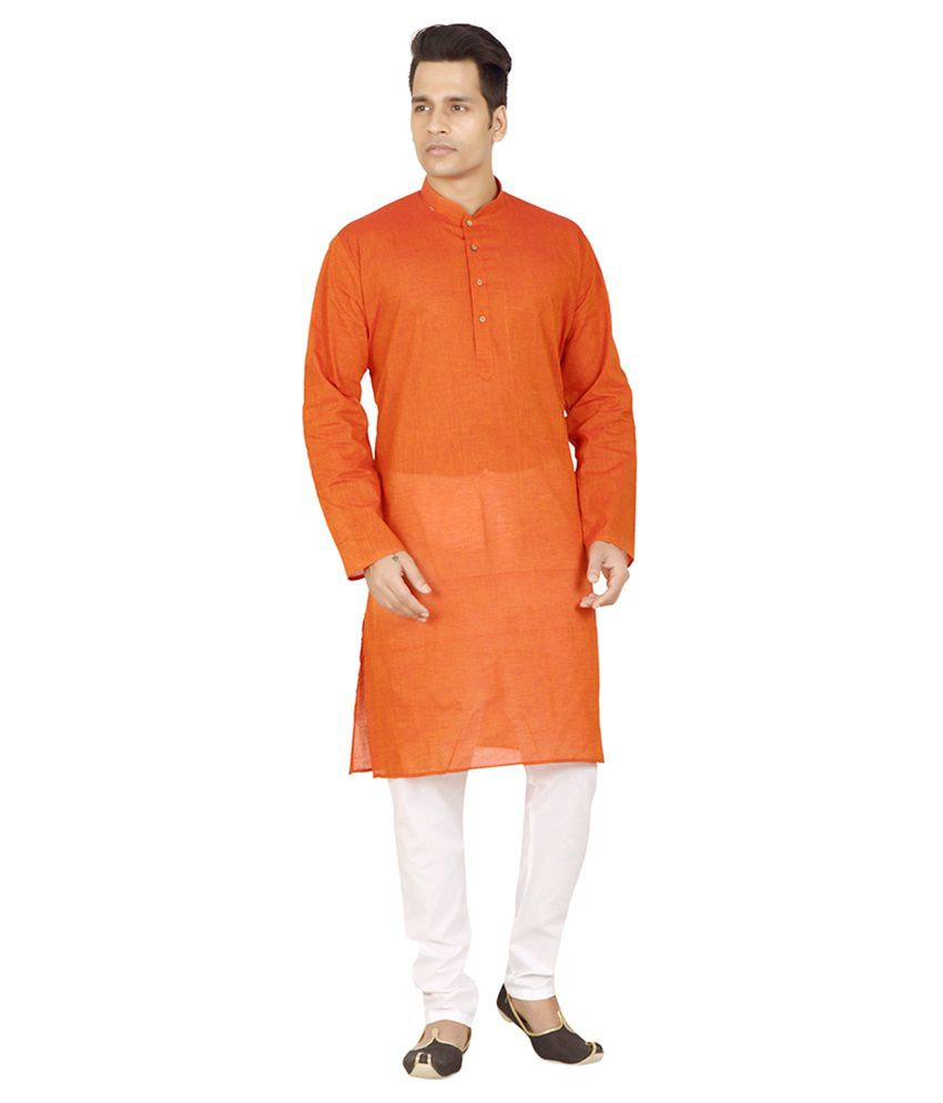 Trustedsnap Orange Kurta Pyjama Sets No