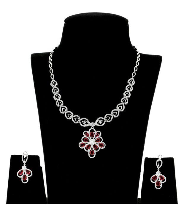 Abhijewels 92.5 Sterling Silver BIS Hallmark Necklace Set