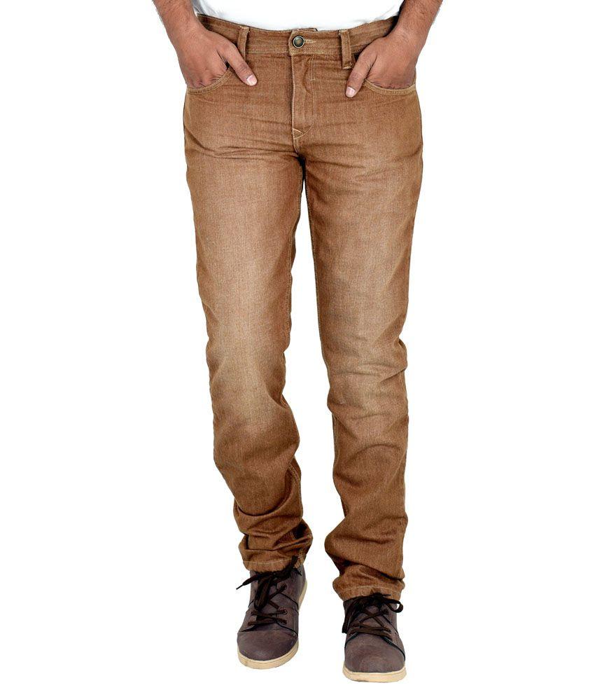 Indigen Brown Slim Fit Jeans