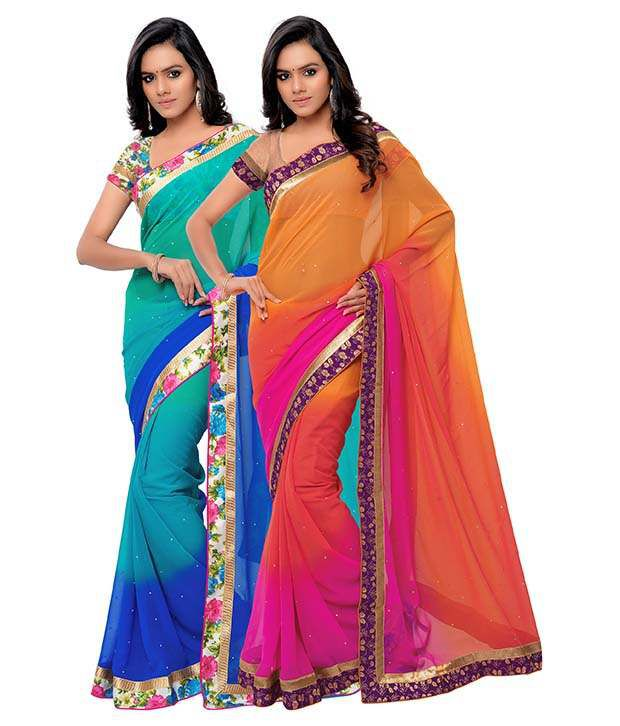 Madhav Fashion Multicolor Georgette Pack of 2