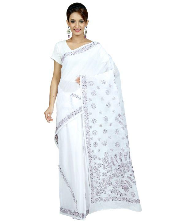 Navrang White Cotton Saree