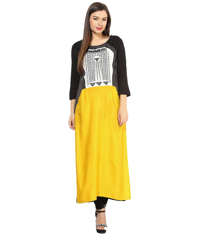 W Yellow Straight Viscose Kurti