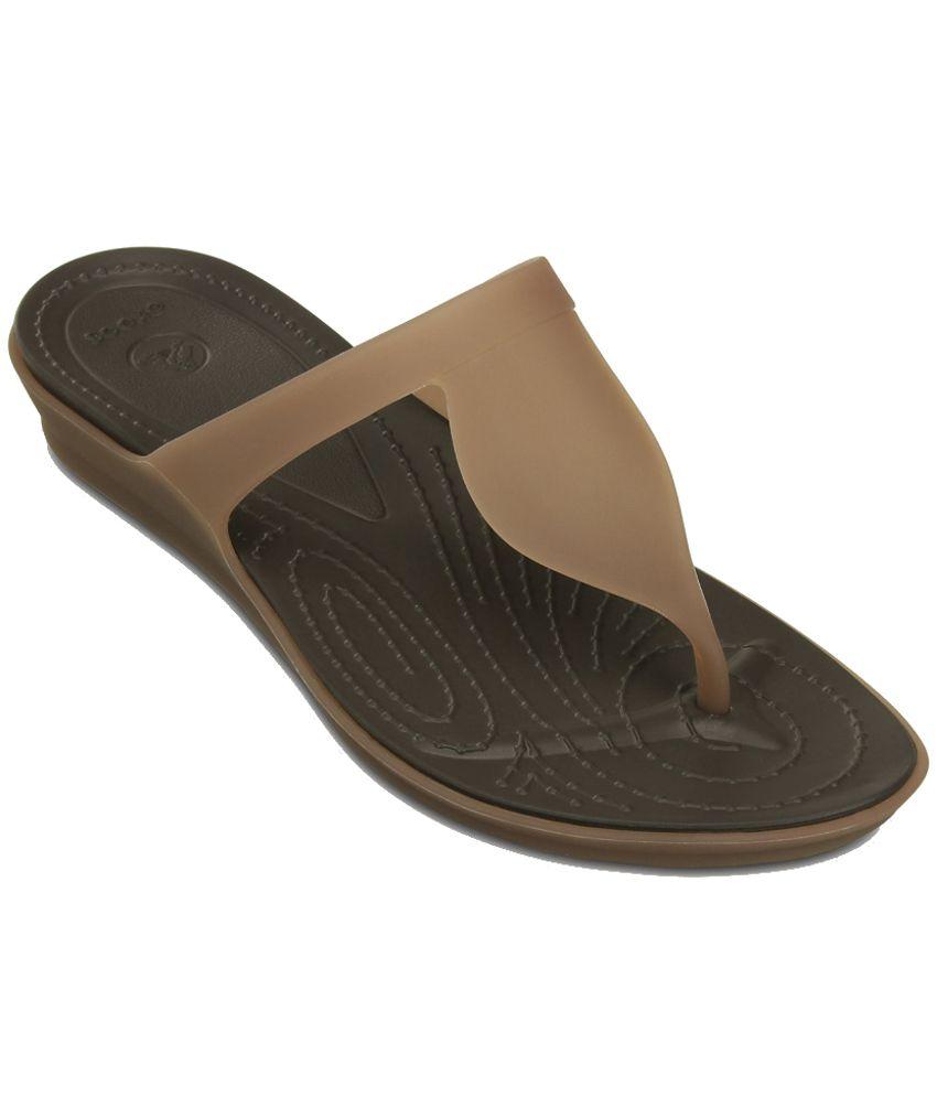 Crocs Standard Fit Brown Slippers & Flip Flops