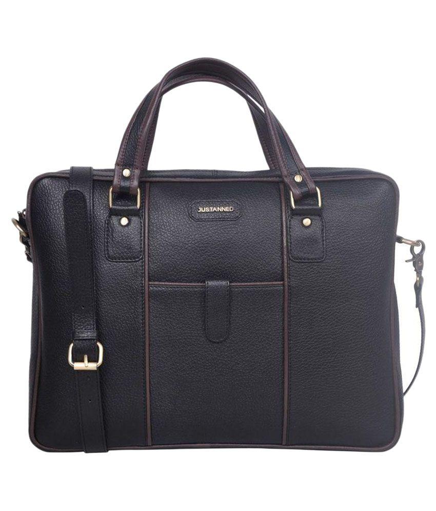 Justanned Black Leather Laptop Bag