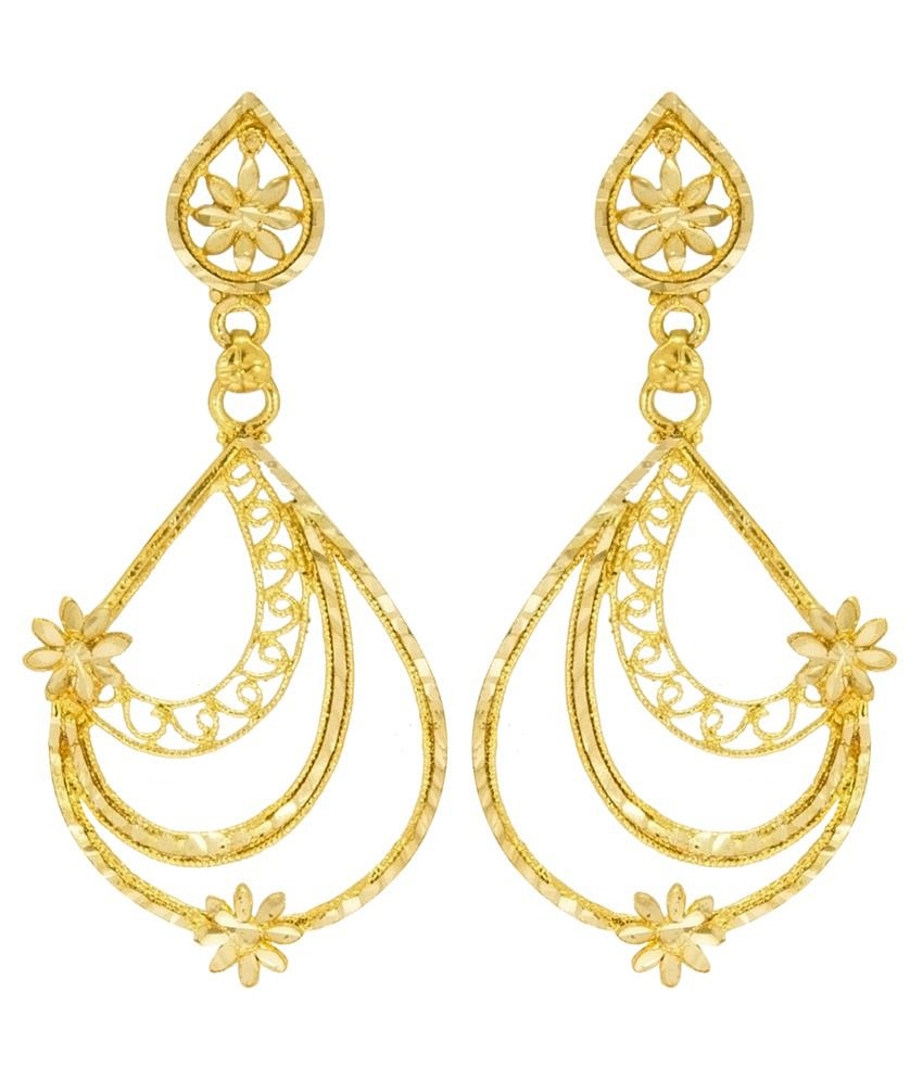 Big Tree Traditional Brass Golden Dangle & Drop Earring for women