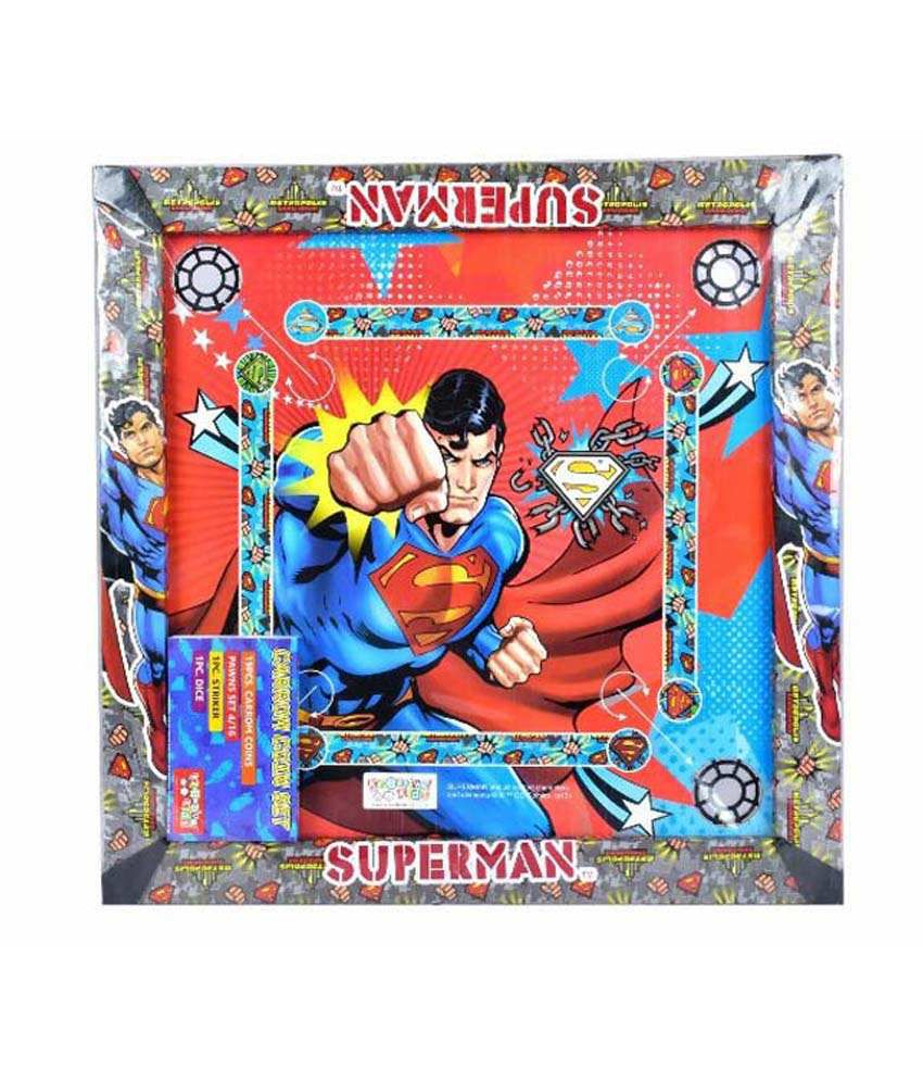 Superman 2-in-1 Carrom Board with Snakes and ladders Game