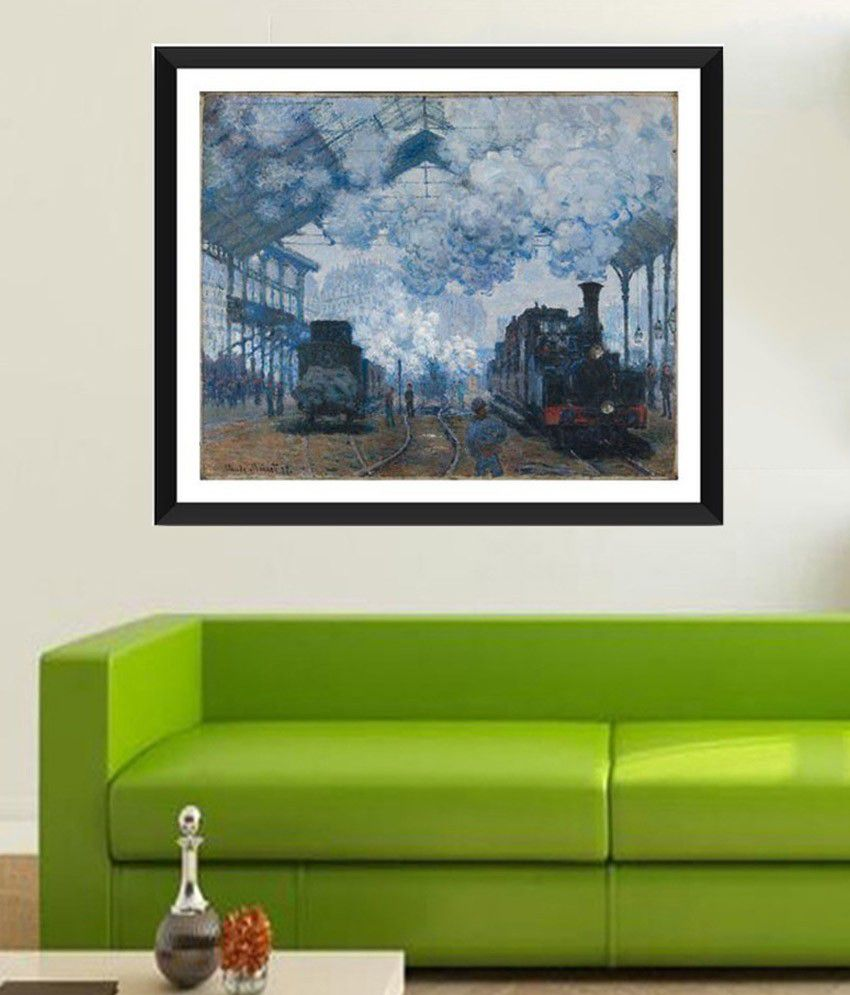 Tallenge Saint Lazare Station In Paris, Arrival of a Train By Claude Monet Framed Art Print