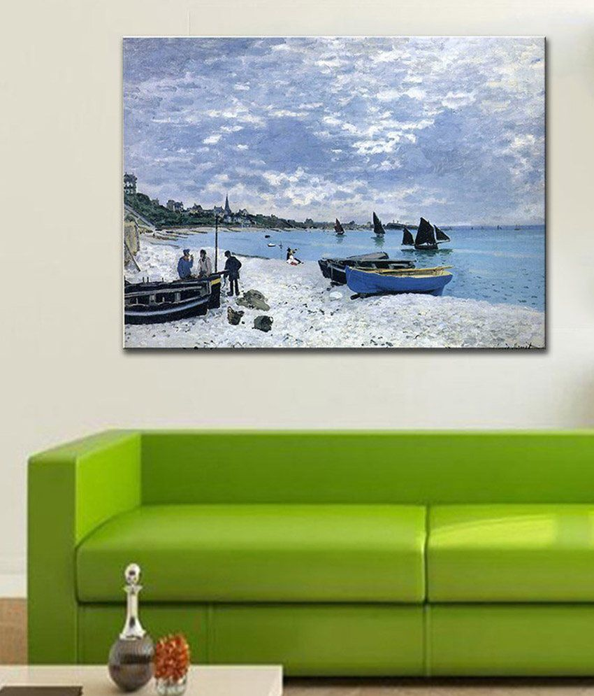 Tallenge The Beach at SainteAdresse By Claude Monet Rolled Canvas Art Print