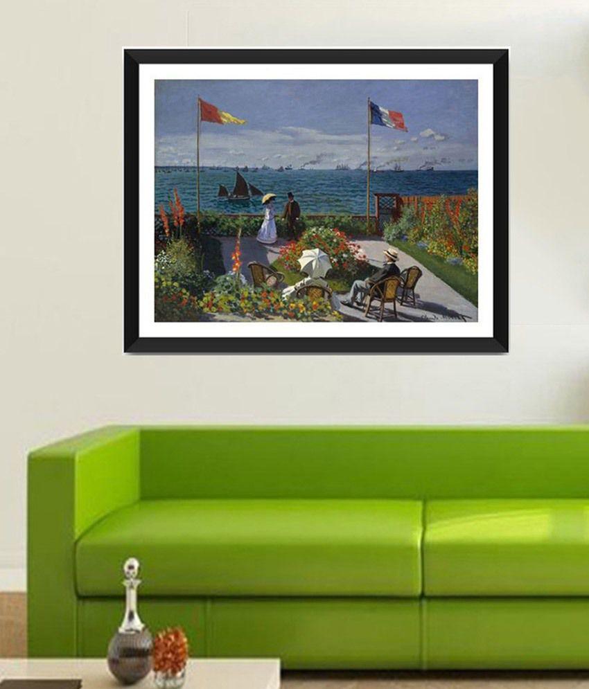 Tallenge The Terrace at SainteAdresse By Claude Monet Framed Art Print