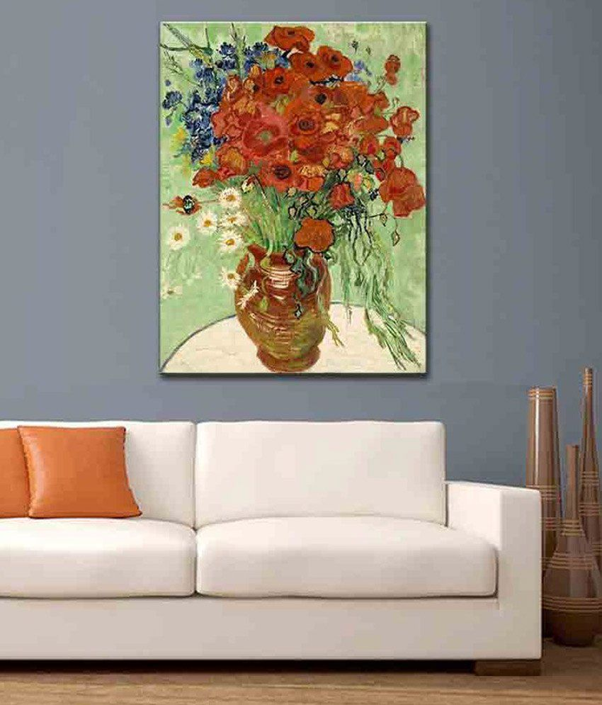 Tallenge Vase With Daisies And Poppies By Vincent Van Gogh Rolled Canvas Art Print