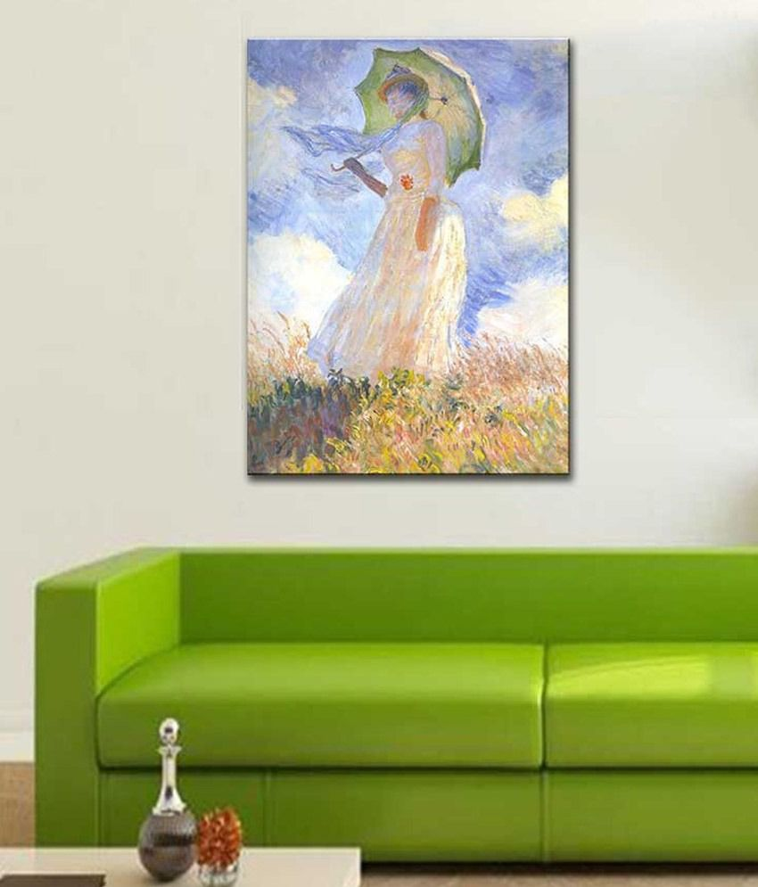 Tallenge Woman with Parasol Turned to the Left By Claude Monet Rolled Canvas Art Print