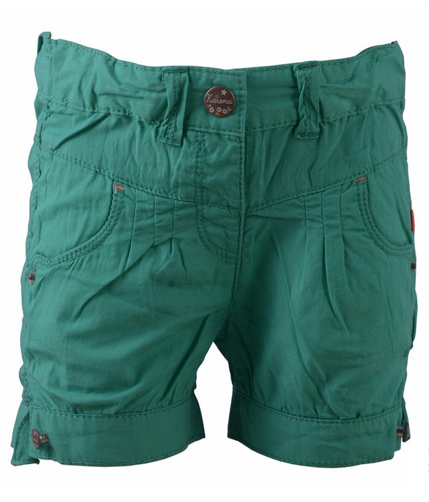 Early Smile Green Cotton Shorts