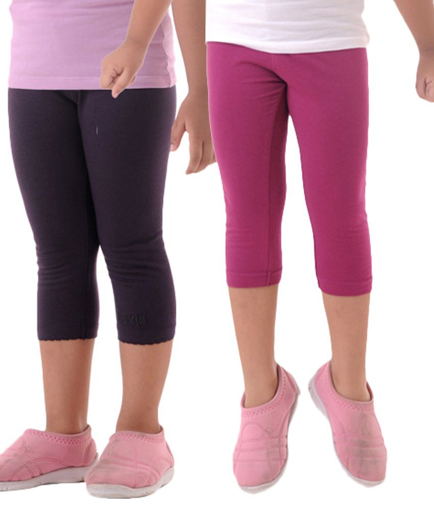 First Lady Pink and Purple Cotton Capri - Pack of 2