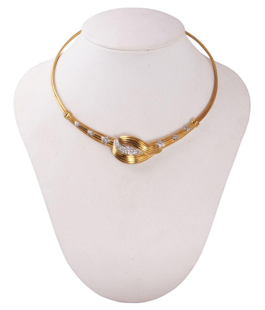 Gemsshop Golden and Silver 18Kt Precious Gems Necklace