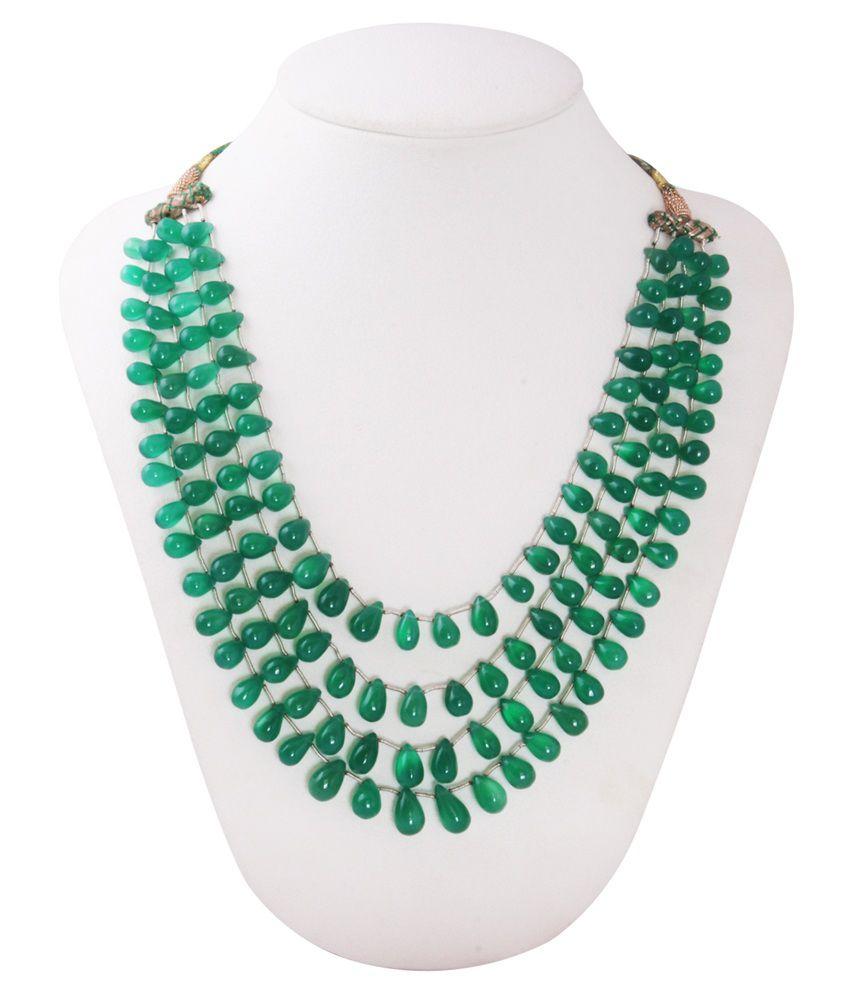 Gemsshop Green Semi Precious Gems Necklace