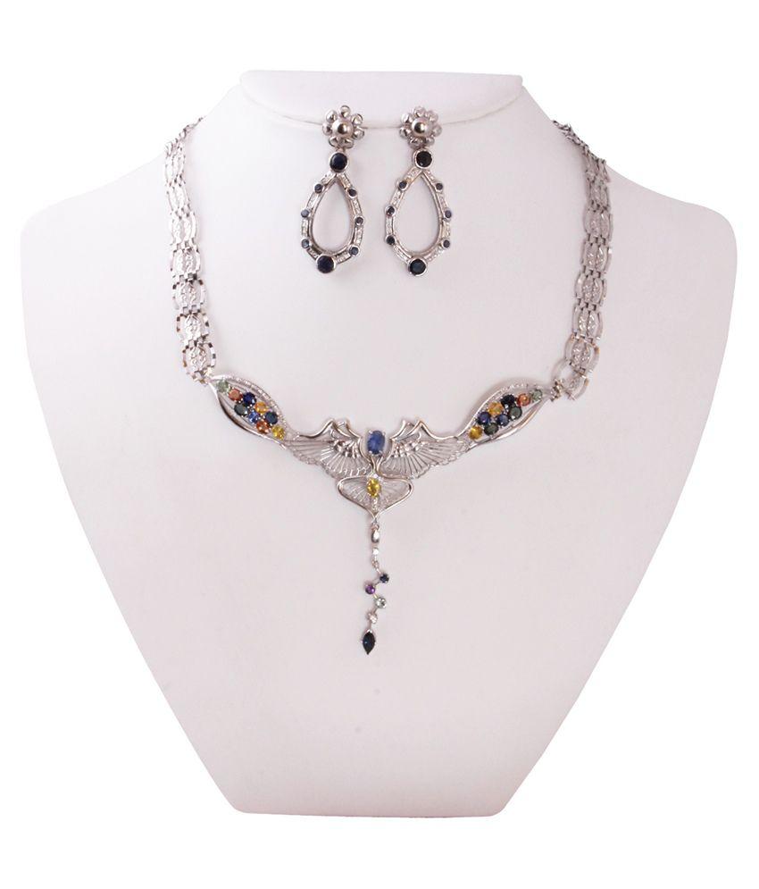 Gemsshop Multicolor 18Kt Precious Gems Necklace Set