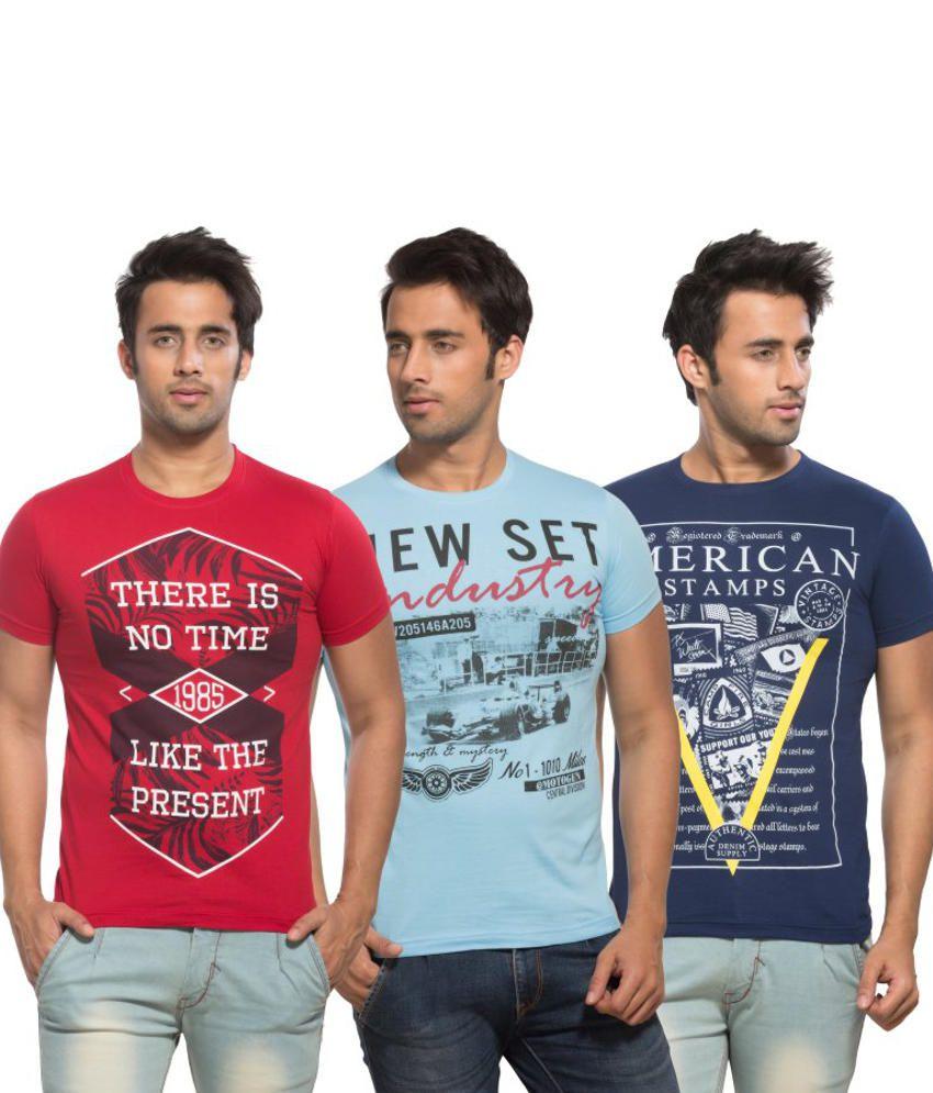 Maniac Multi Round T-Shirt Pack of 3