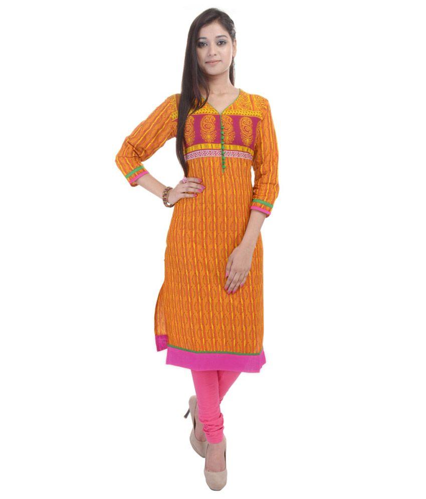 Sparsh Rajasthan Orange Straight Cotton Kurti