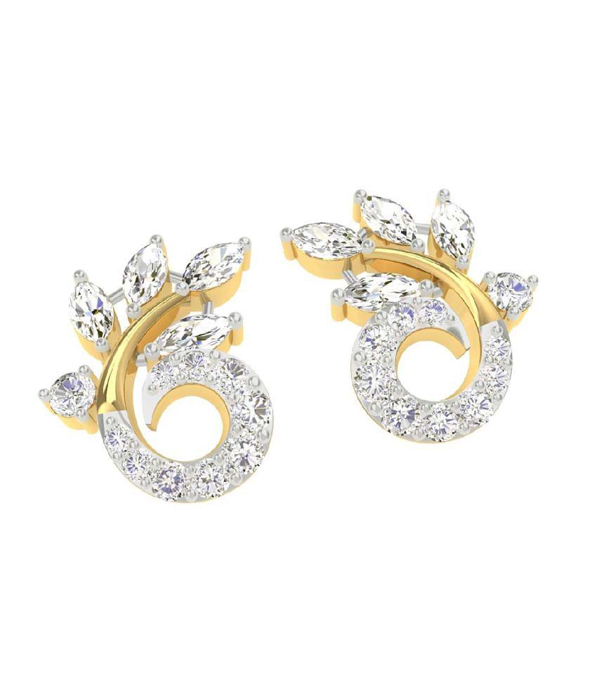 a18944286 ... TBZ-The Original 18Kt Yellow Gold Daily Wear Stud Earrings with 0.44cts  Diamonds ...